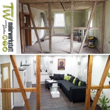 Wohnzimmer vorher- nachher