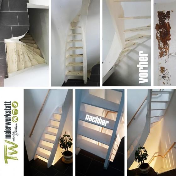 Treppe vorher – nachher