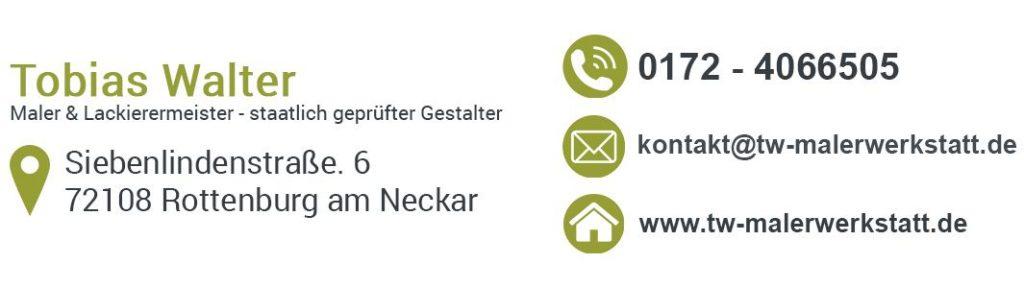 Tapezierarbeiten in der Region Tübingen - Rottenburg: Anschrift TW Malerwerkstatt