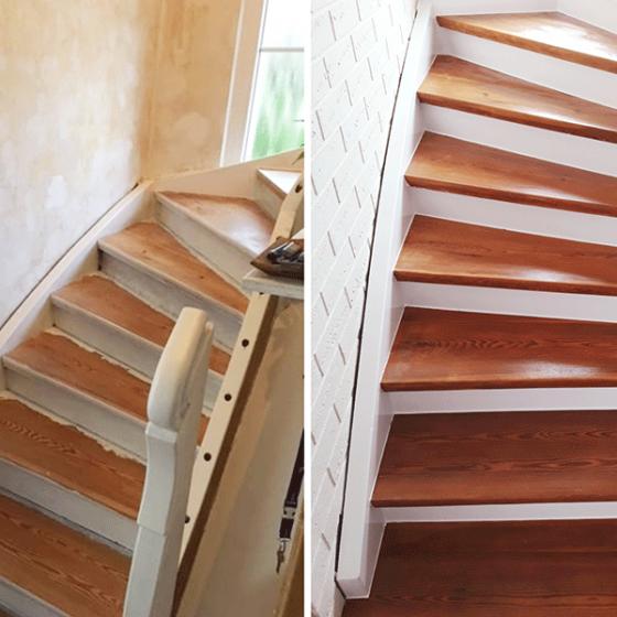 Treppe vorher, nachher